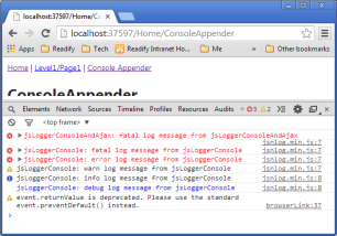 screenshot of browser console with log generated by JSNLog